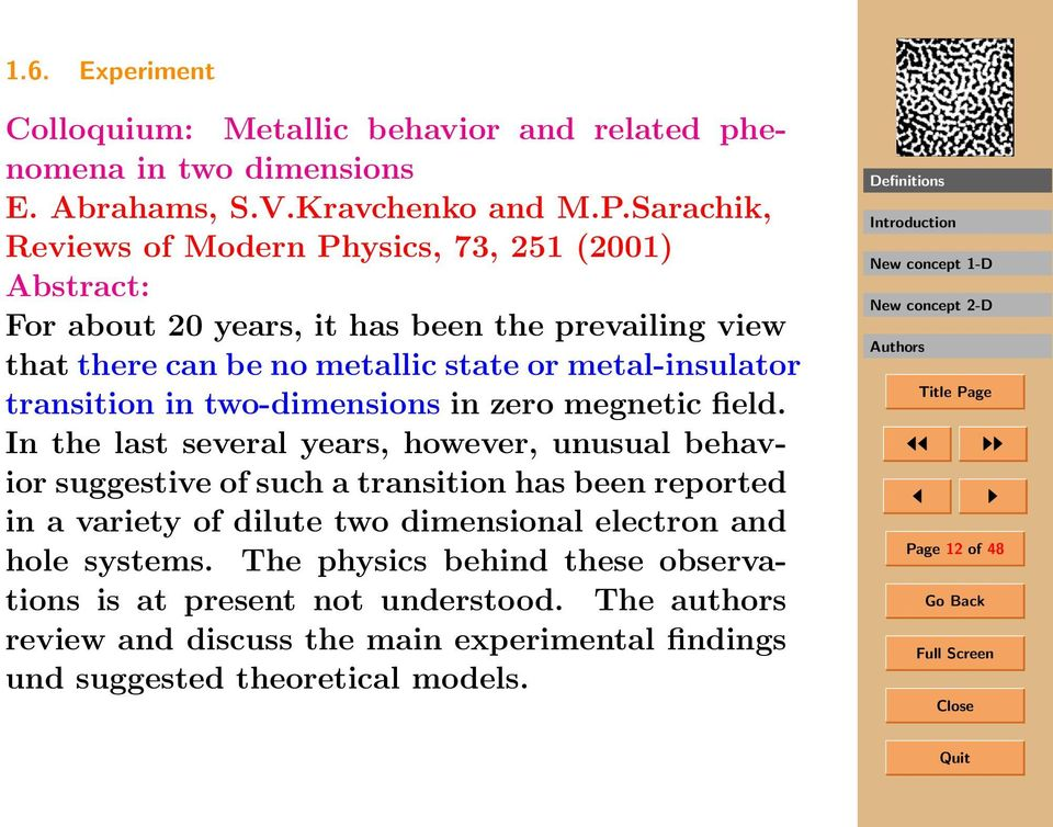transition in two-dimensions in zero megnetic field.