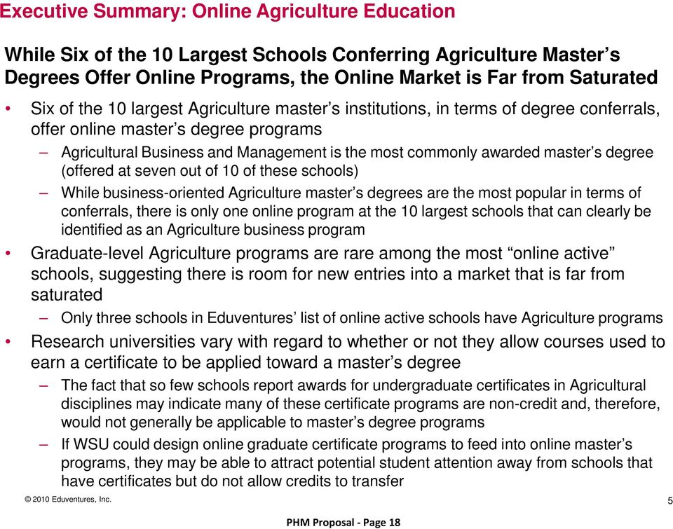 (offered at seven out of 10 of these schools) While business-oriented Agriculture master s degrees are the most popular in terms of conferrals, there is only one online program at the 10 largest