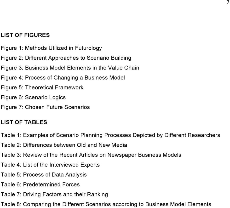 Depicted by Different Researchers Table 2: Differences between Old and New Media Table 3: Review of the Recent Articles on Newspaper Business Models Table 4: List of the Interviewed