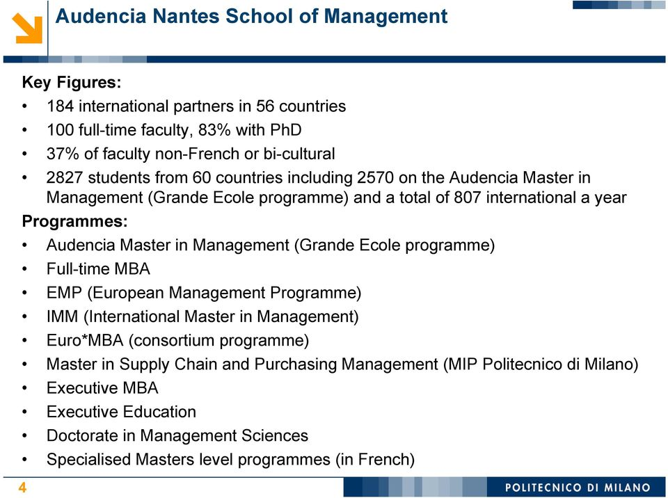 Management (Grande Ecole programme) Full-time MBA EMP (European Management Programme) IMM (International Master in Management) Euro*MBA (consortium programme) Master in Supply