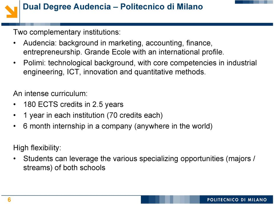 Polimi: technological background, with core competencies in industrial engineering, ICT, innovation and quantitative methods.