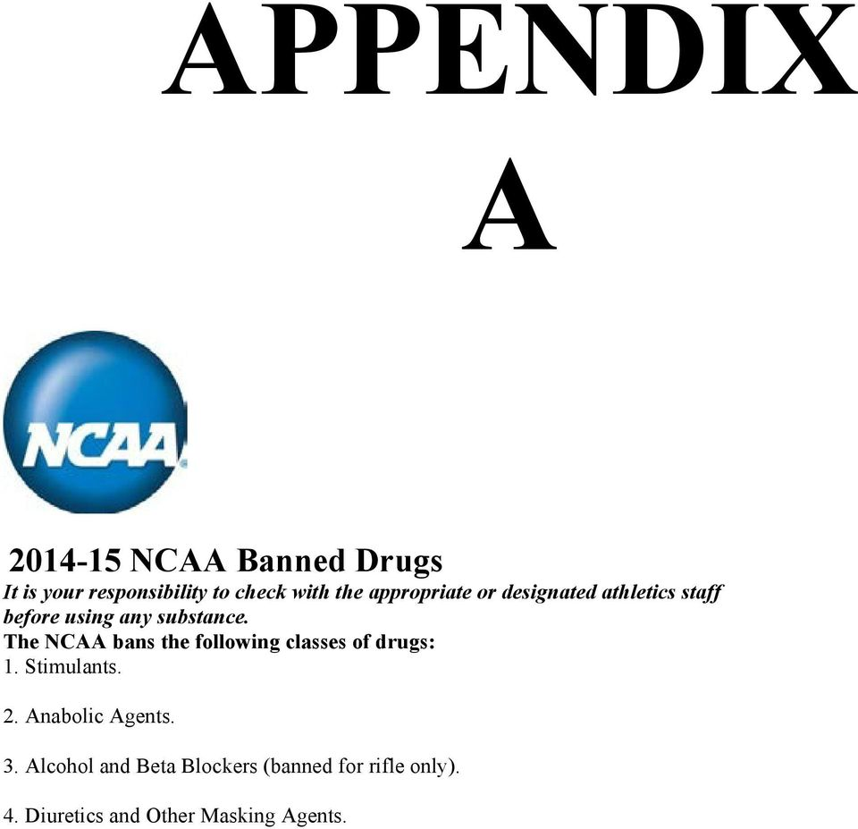The NCAA bans the following classes of drugs: 1. Stimulants. 2. Anabolic Agents.