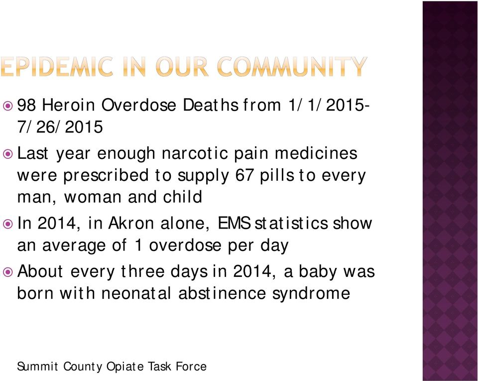 Akron alone, EMS statistics ti ti show an average of 1 overdose per day About every