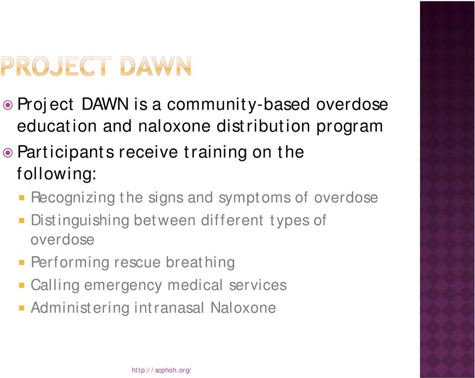 overdose Distinguishing i g between different types of overdose Performing rescue