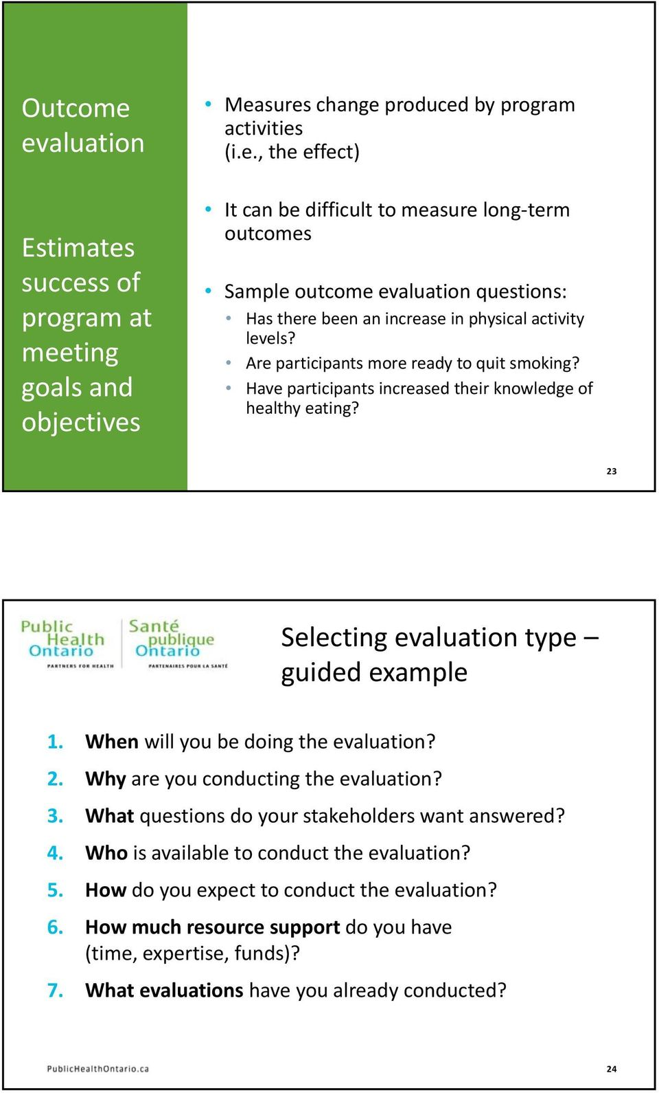 3. What questions do your stakeholders want answered? 4. Who is available to conduct the evaluation? 5. How do you expect to conduct the evaluation? 6.