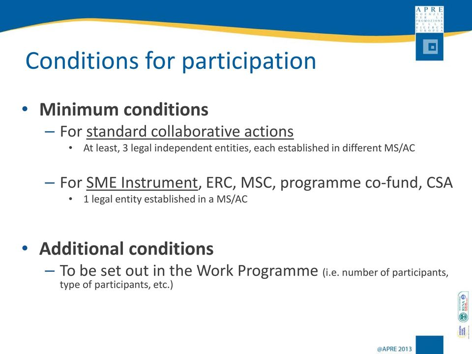 Instrument, ERC, MSC, programme co-fund, CSA 1 legal entity established in a MS/AC