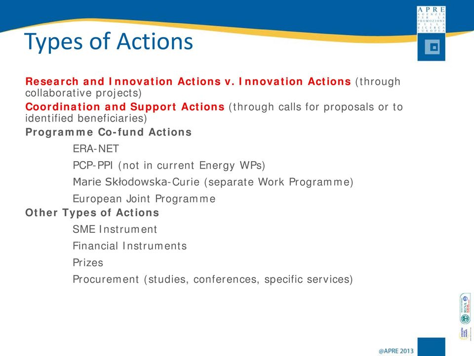 or to identified beneficiaries) Programme Co-fund Actions ERA-NET PCP-PPI (not in current Energy WPs) Marie