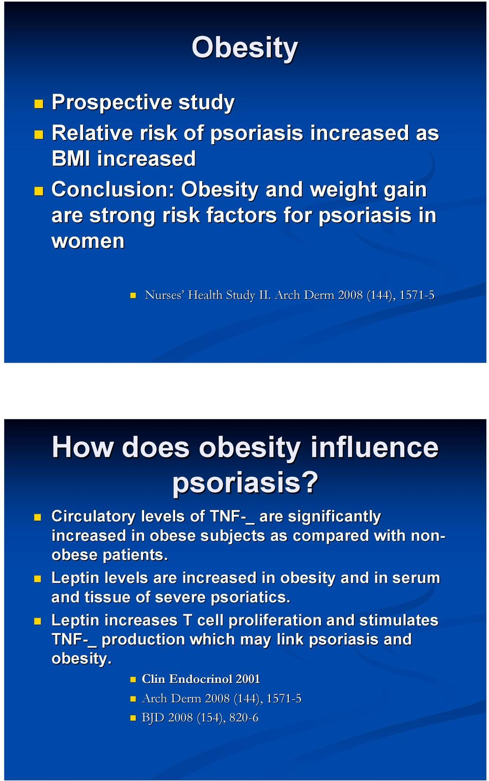 Arch Derm 2008 (144), 1571-5 How does obesity influence psoriasis?