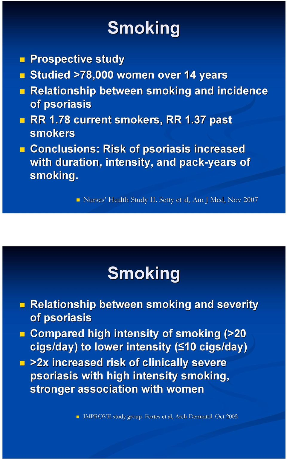 Setty et al, Am J Med, Nov 2007 Smoking! Relationship between smoking and severity of psoriasis!