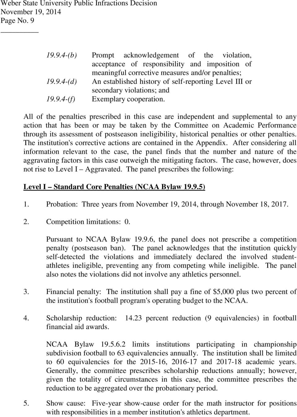 All of the penalties prescribed in this case are independent and supplemental to any action that has been or may be taken by the Committee on Academic Performance through its assessment of postseason