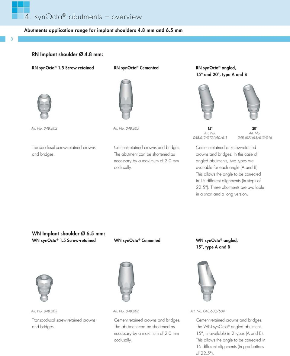 Cement-retained crowns and bridges. The abutment can be shortened as necessary by a maximum of 2.0 mm occlusally. Cement-retained or screw-retained crowns and bridges.