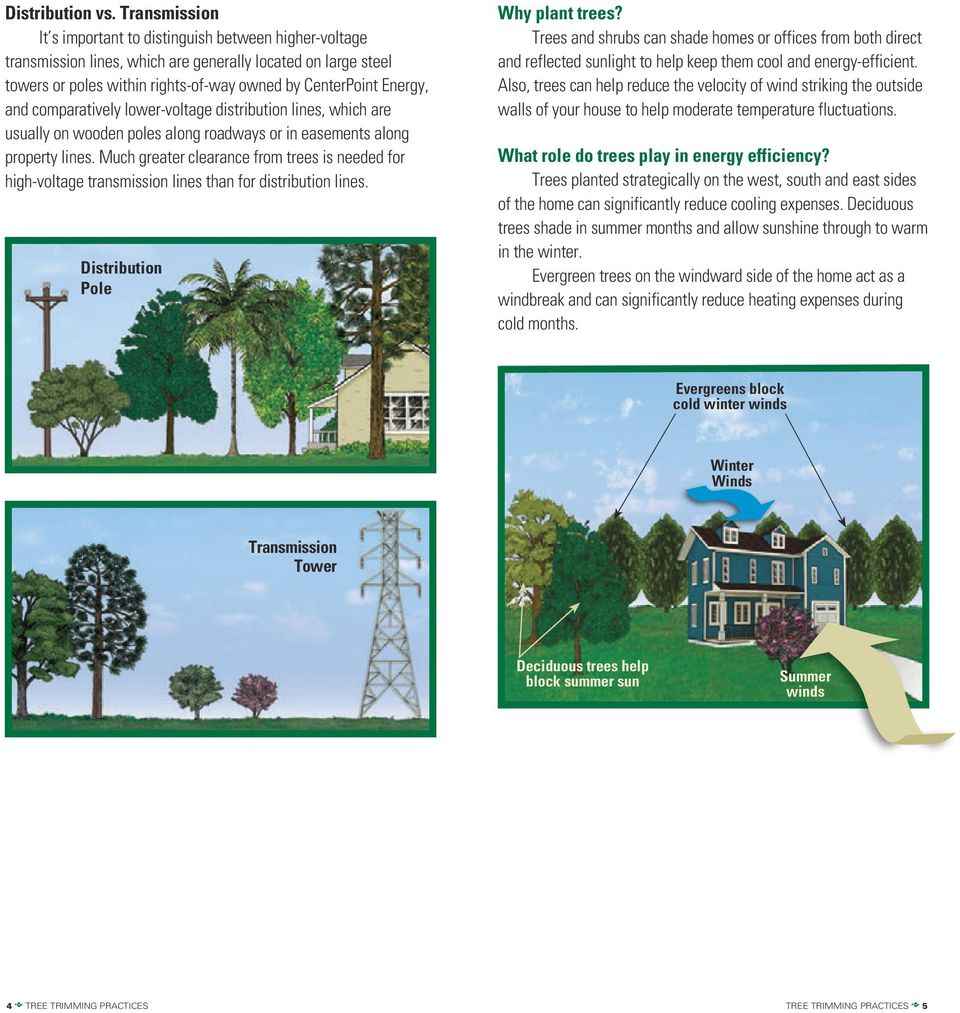 compara tively lower-voltage distribution lines, which are usually on wooden poles along roadways or in easements along property lines.