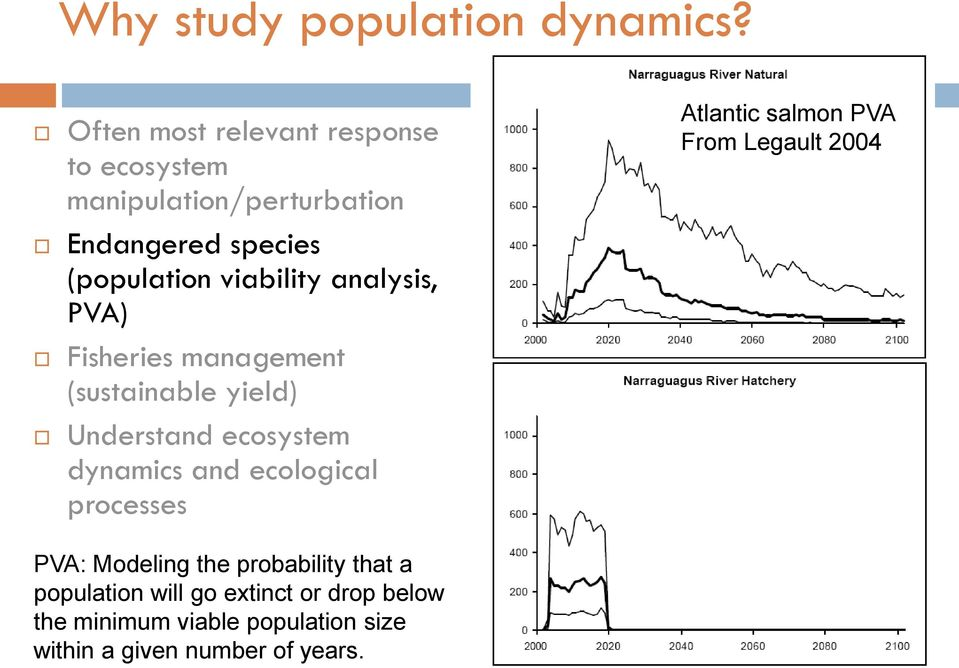 analysis, PVA) Fisheries management (sustainable yield) Understand ecosystem dynamics and ecological