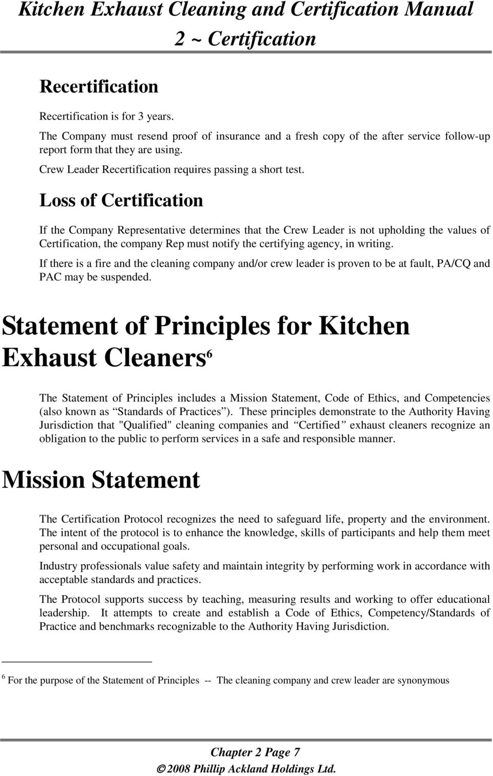 Certification Kitchen Exhaust Cleaning And Certification Manual 2