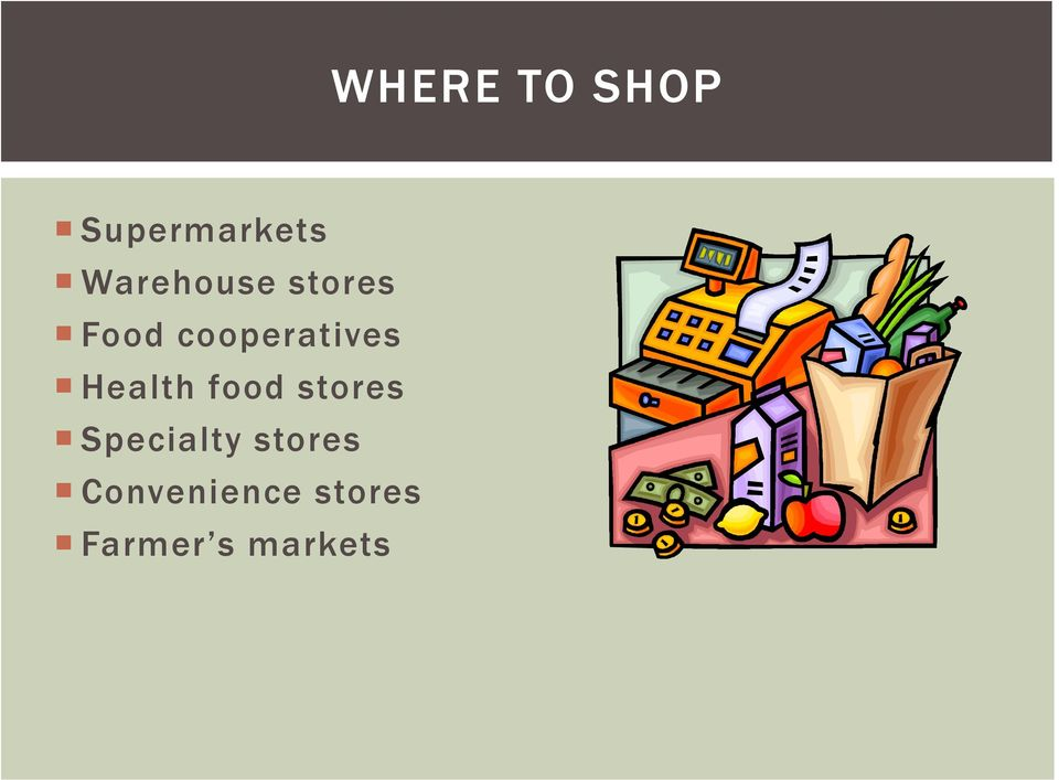cooperatives Health food stores