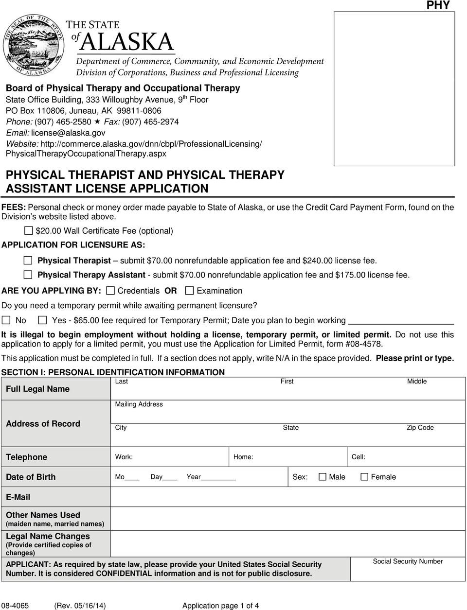 gov Website: http://commerce.alaska.gov/dnn/cbpl/professionallicensing/ PhysicalTherapyOccupationalTherapy.