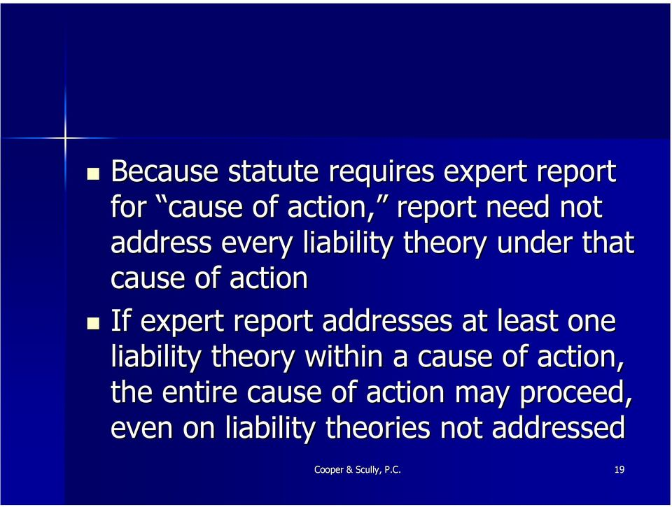 addresses at least one liability theory within a cause of action, the entire