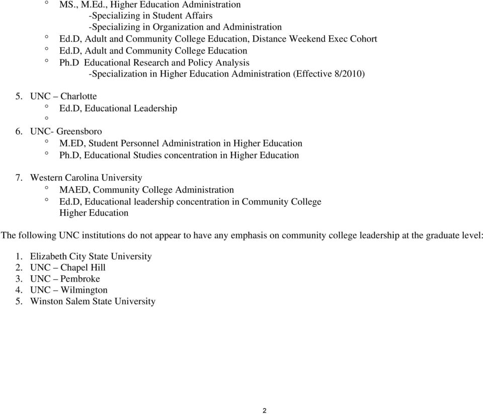 D Educational Research and Policy Analysis -Specialization in Higher Education Administration (Effective 8/2010) 5. UNC Charlotte Ed.D, Educational Leadership 6. UNC- Greensboro M.