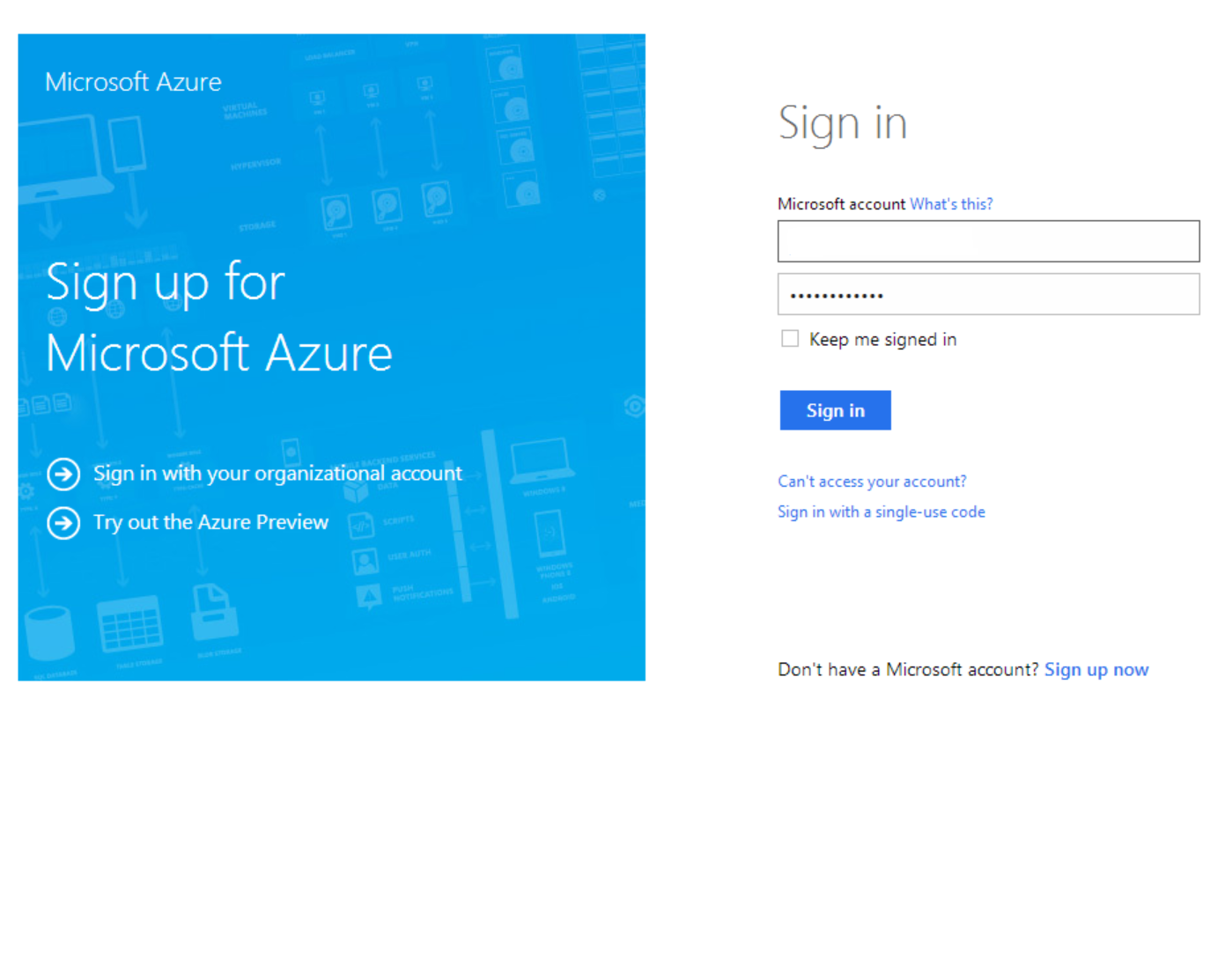 Sign in page Use a Microsoft Account