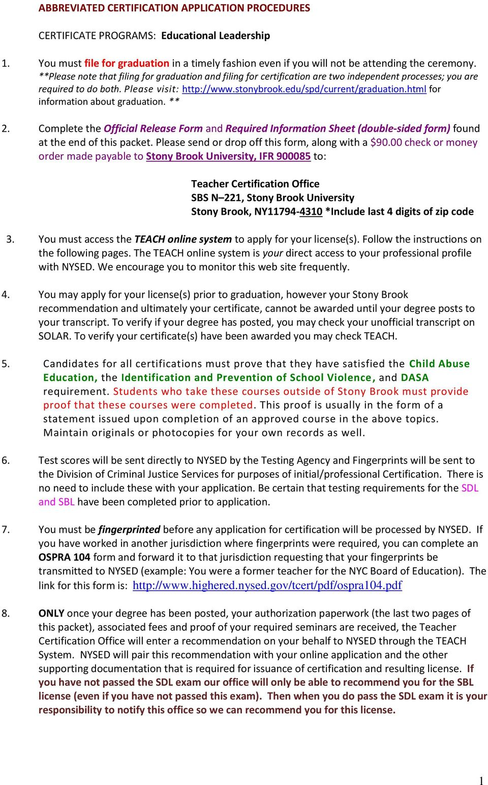 html for information about graduation. ** 2. Complete the Official Release Form and Required Information Sheet (double-sided form) found at the end of this packet.