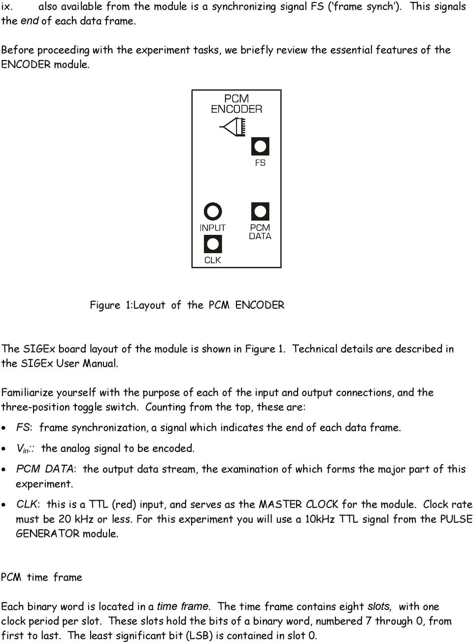 Figure 1:Layout of the PCM ENCODER The SIGEx board layout of the module is shown in Figure 1. Technical details are described in the SIGEx User Manual.
