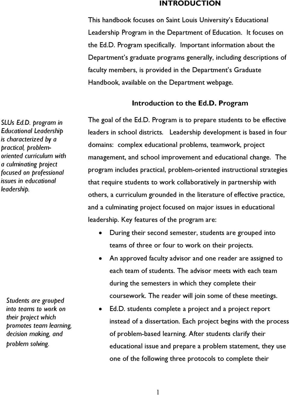 webpage. Introduction to the Ed.D.