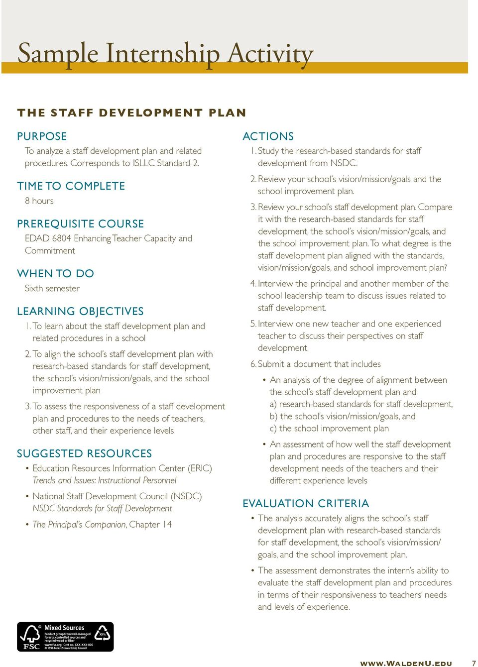 To learn about the staff development plan and related procedures in a school 2.