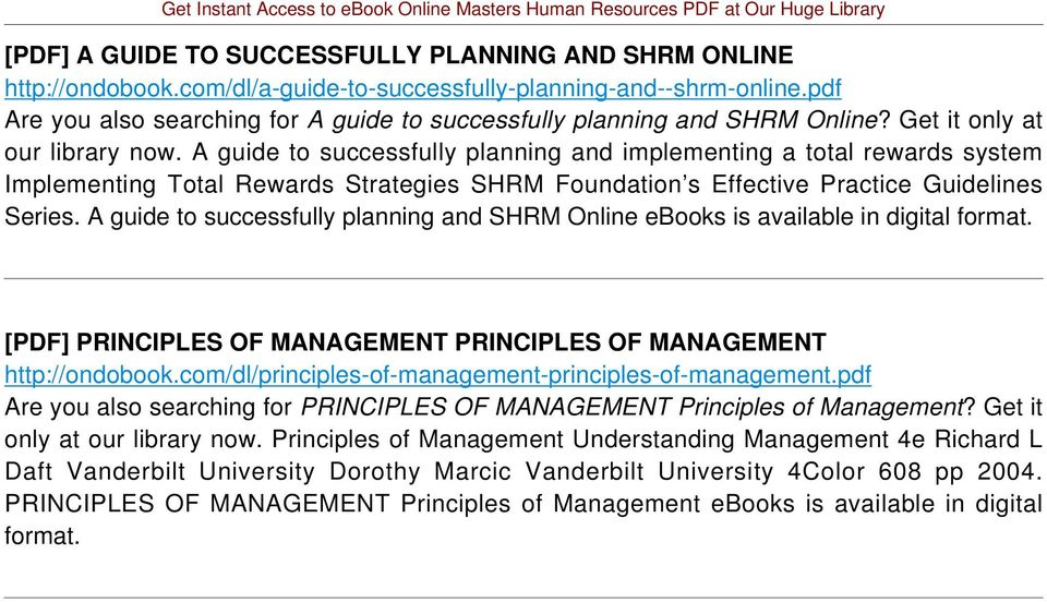 A guide to successfully planning and implementing a total rewards system Implementing Total Rewards Strategies SHRM Foundation s Effective Practice Guidelines Series.