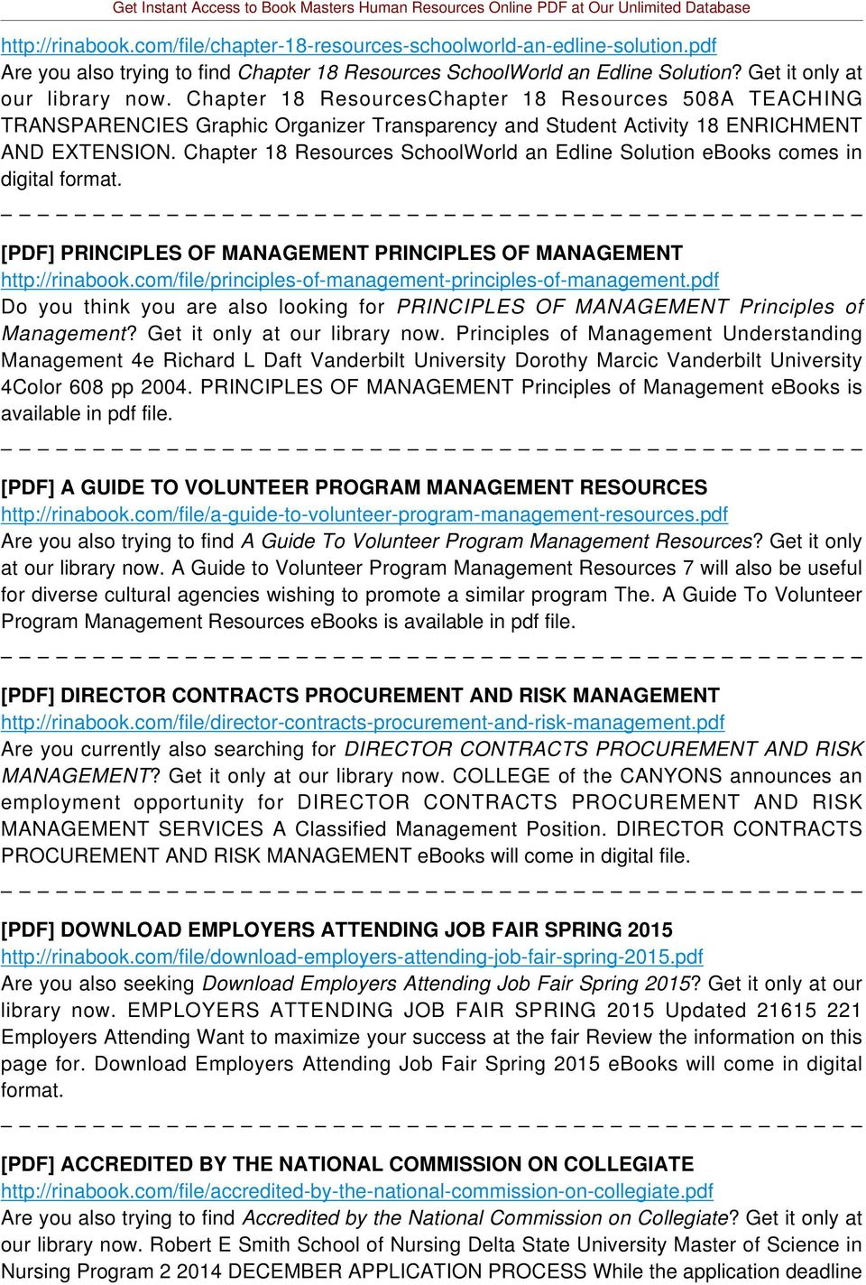 Chapter 18 Resources SchoolWorld an Edline Solution ebooks comes in digital format. [PDF] PRINCIPLES OF MANAGEMENT PRINCIPLES OF MANAGEMENT http://rinabook.