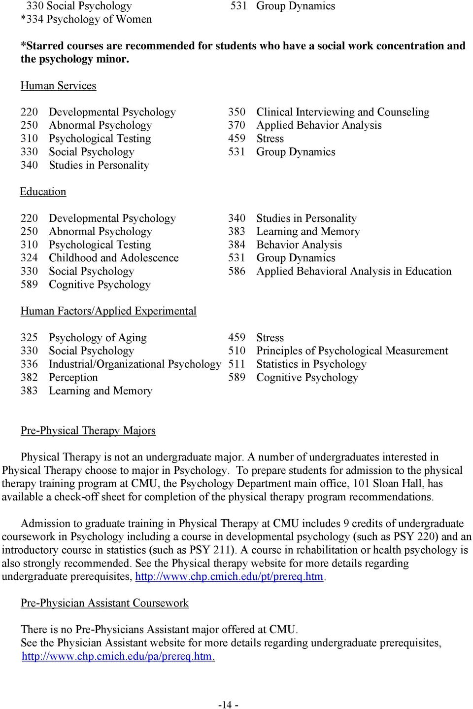 531 Group Dynamics 340 Studies in Personality Education 220 Developmental Psychology 340 Studies in Personality 250 Abnormal Psychology 383 Learning and Memory 310 Psychological Testing 384 Behavior