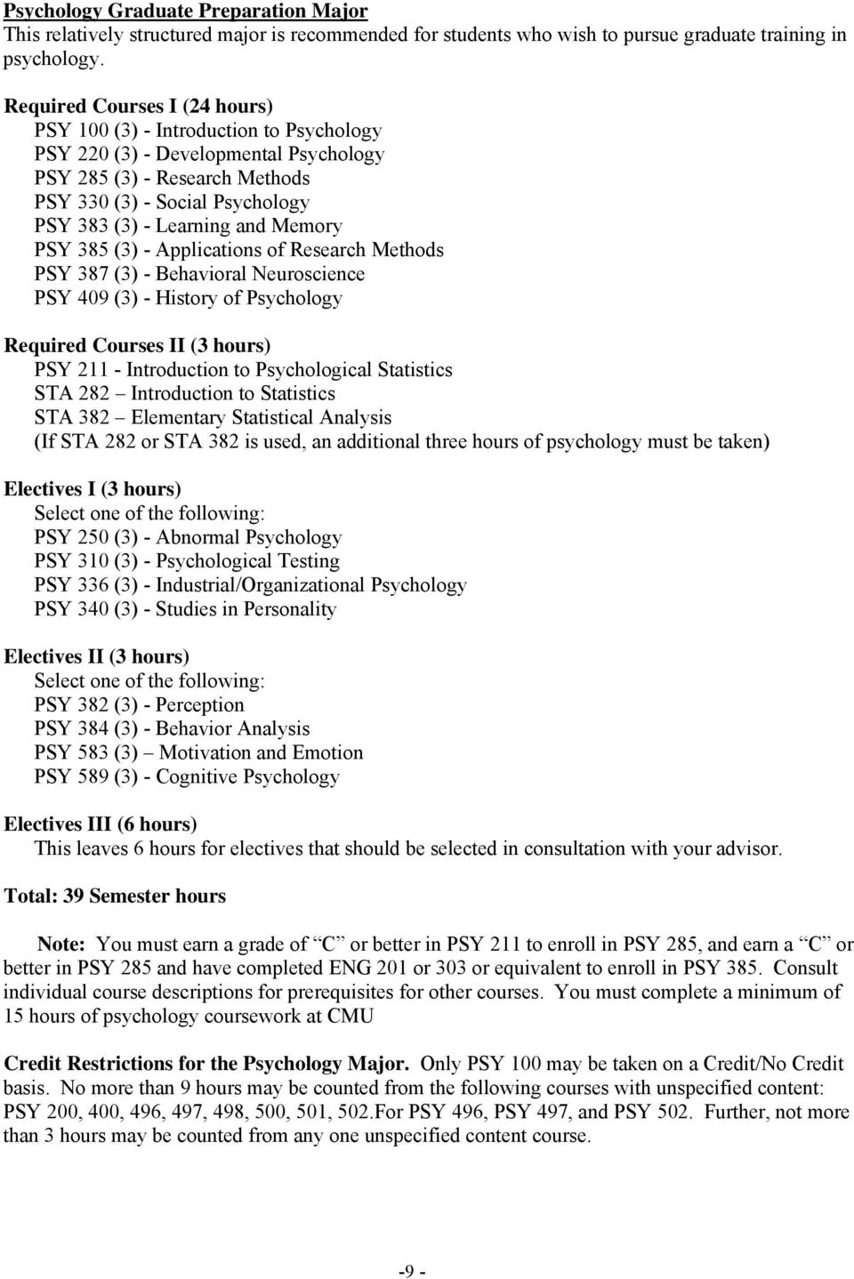 Memory PSY 385 (3) - Applications of Research Methods PSY 387 (3) - Behavioral Neuroscience PSY 409 (3) - History of Psychology Required Courses II (3 hours) PSY 211 - Introduction to Psychological