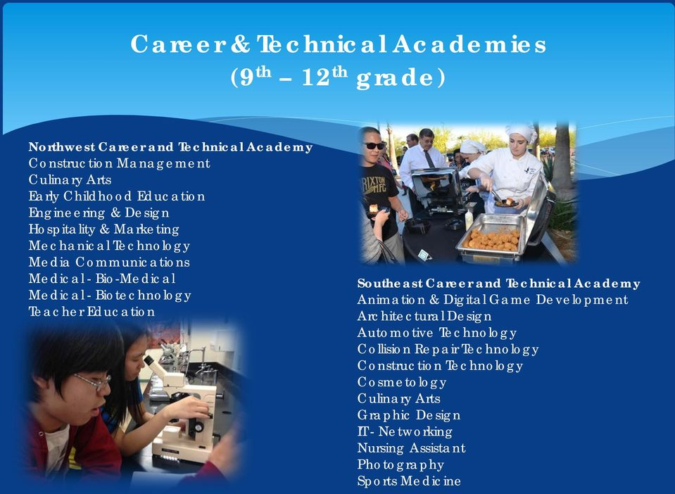 Teacher Education Southeast Career and Technical Academy Animation & Digital Game Development Architectural Design Automotive Technology