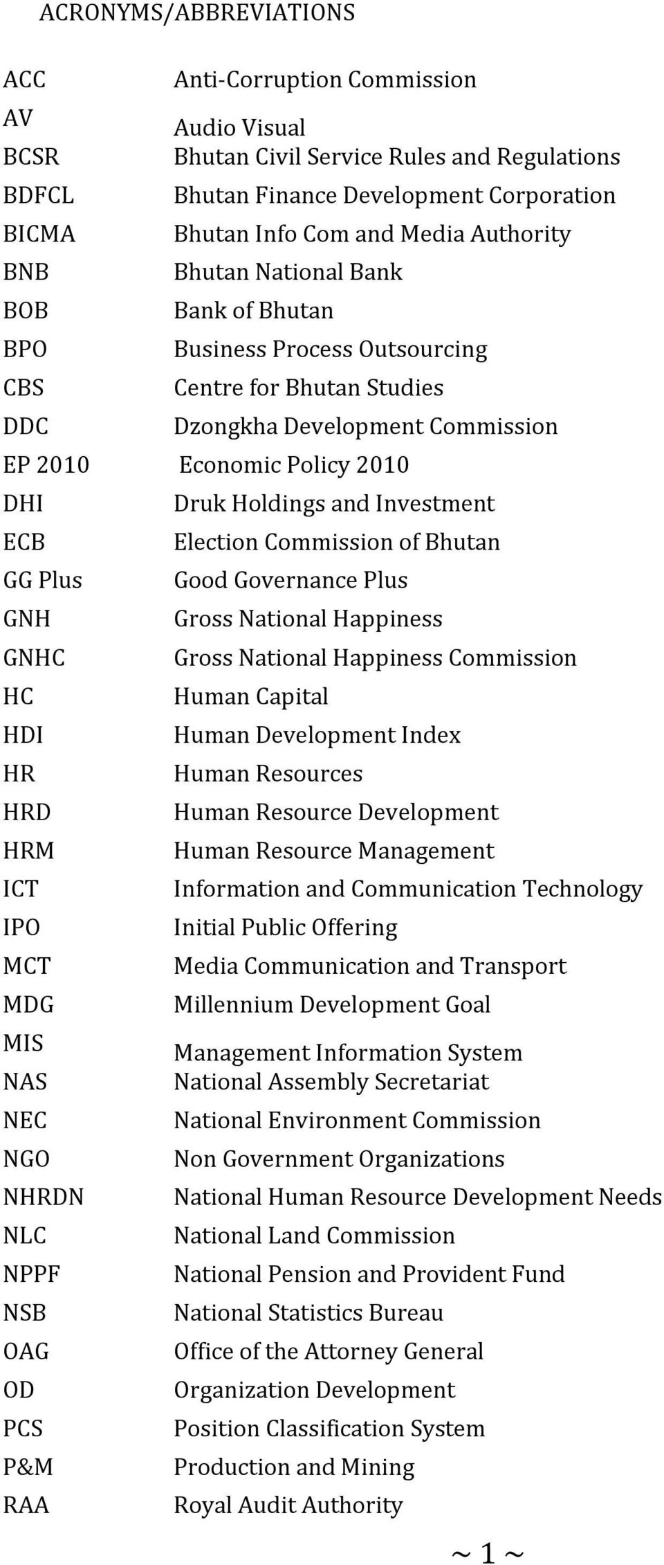 and Investment ECB Election Commission of Bhutan GG Plus Good Governance Plus GNH Gross National Happiness GNHC Gross National Happiness Commission HC Human Capital HDI Human Development Index HR