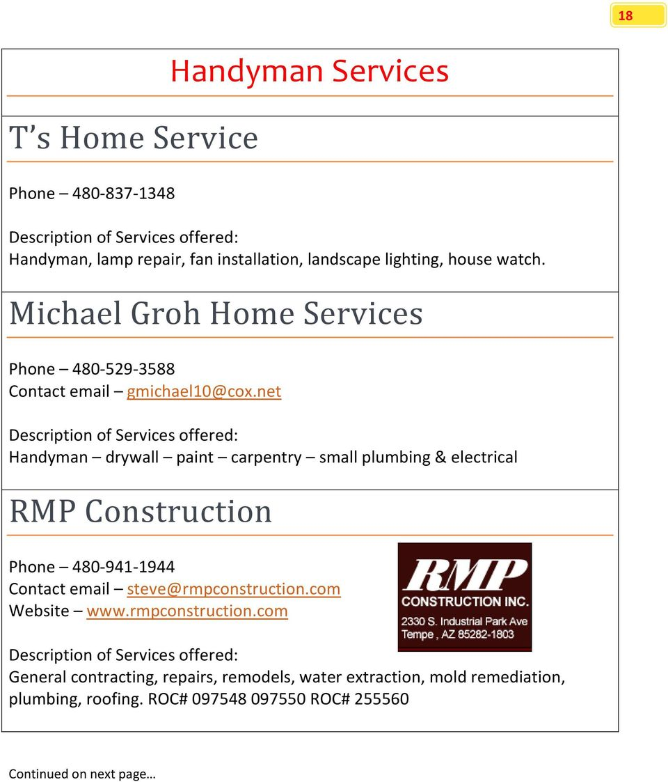 net Handyman drywall paint carpentry small plumbing & electrical RMP Construction Phone 480-941-1944 Contact email