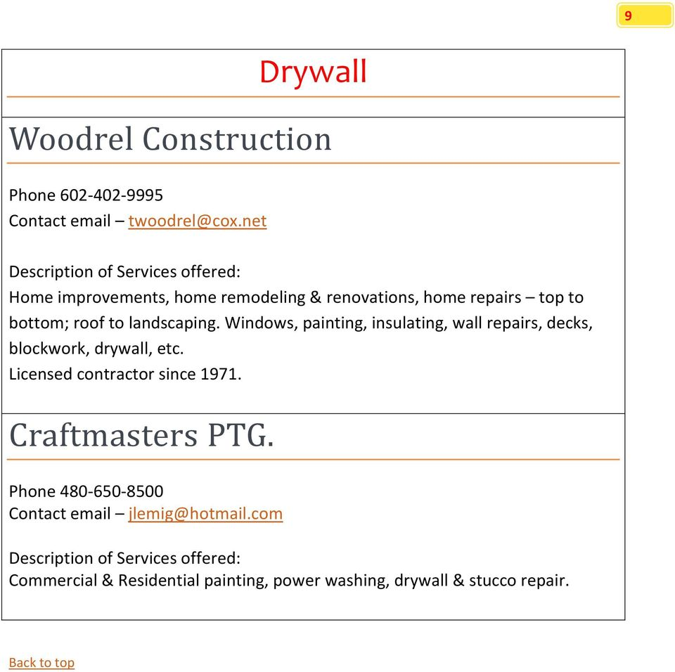 Windows, painting, insulating, wall repairs, decks, blockwork, drywall, etc. Licensed contractor since 1971.