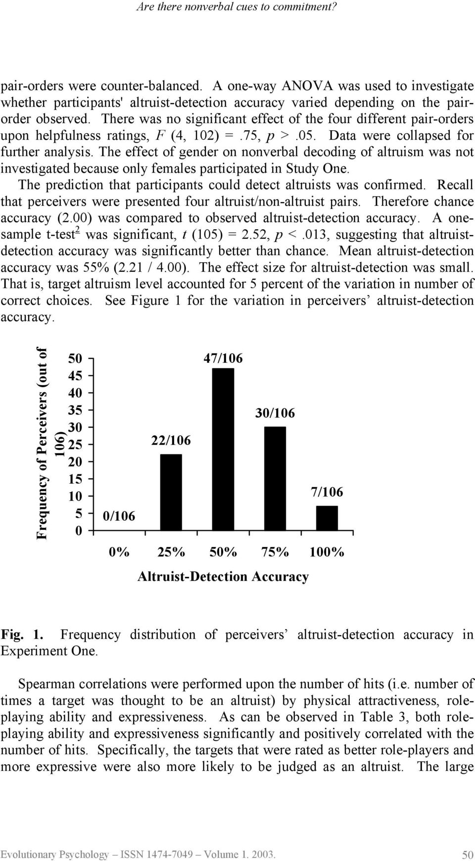 The effect of gender on nonverbal decoding of altruism was not investigated because only females participated in Study One. The prediction that participants could detect altruists was confirmed.