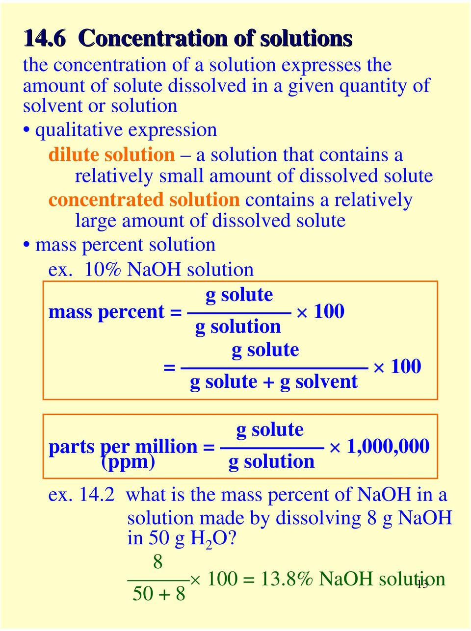 dissolved solute mass percent solution ex.
