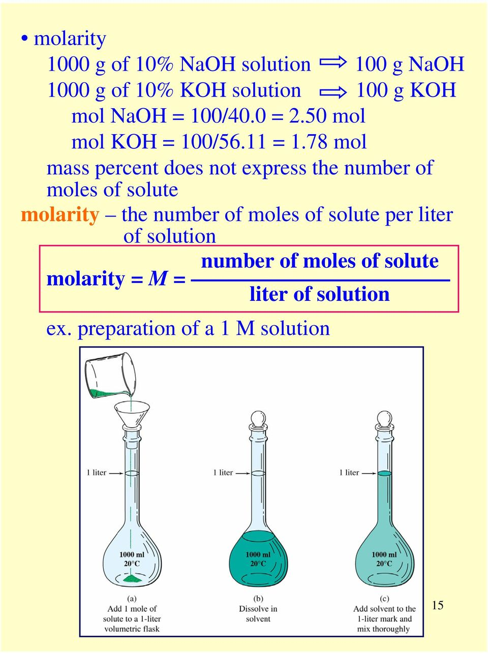 78 mol mass percent does not express the number of moles of solute molarity the number of