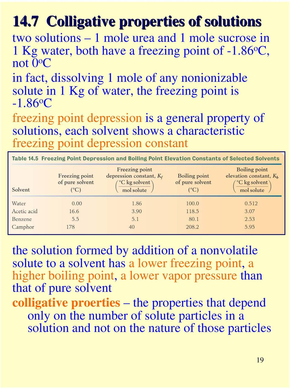 86 o C freezing point depression is a general property of solutions, each solvent shows a characteristic freezing point depression constant the solution formed by addition of