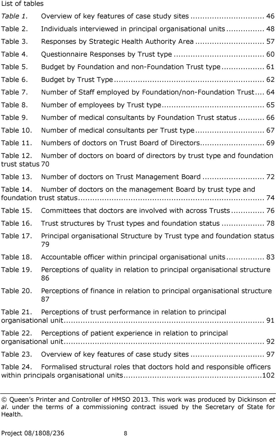 .. 62 Table 7. Number of Staff employed by Foundation/non-Foundation Trust... 64 Table 8. Number of employees by Trust type... 65 Table 9. Number of medical consultants by Foundation Trust status.