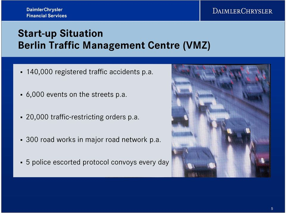 a. 20,000 traffic-restricting orders p.a. 300 road works in major road network p.