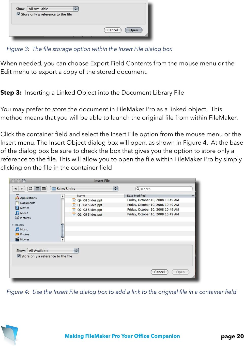This method means that you will be able to launch the original file from within FileMaker. Click the container field and select the Insert File option from the mouse menu or the Insert menu.