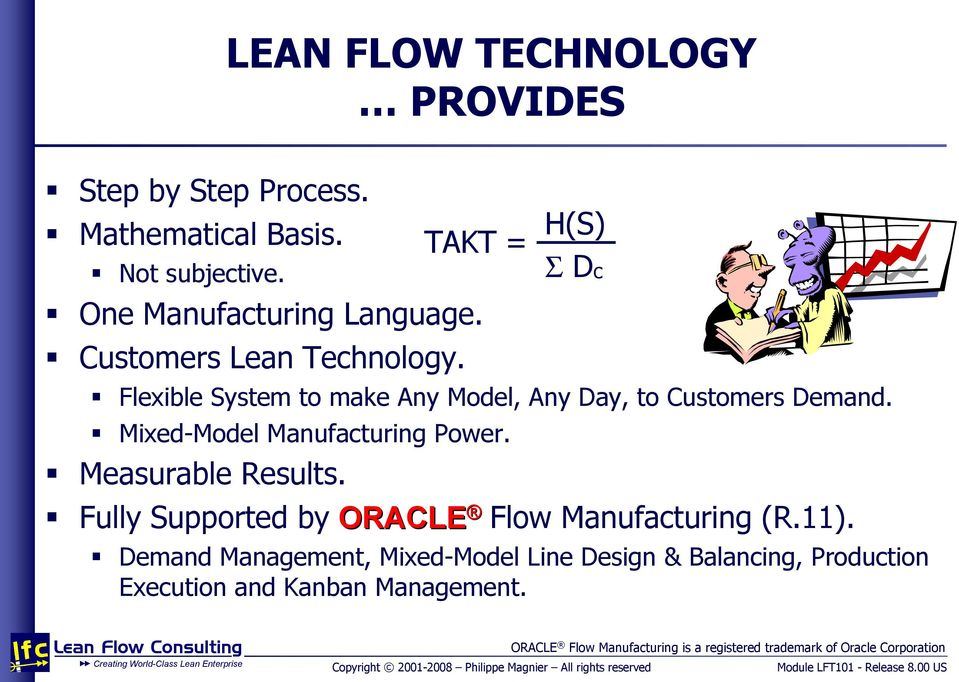 TAKT = H(S) Σ Dc Fully Supported by ORACLE Flow Manufacturing (R.11).