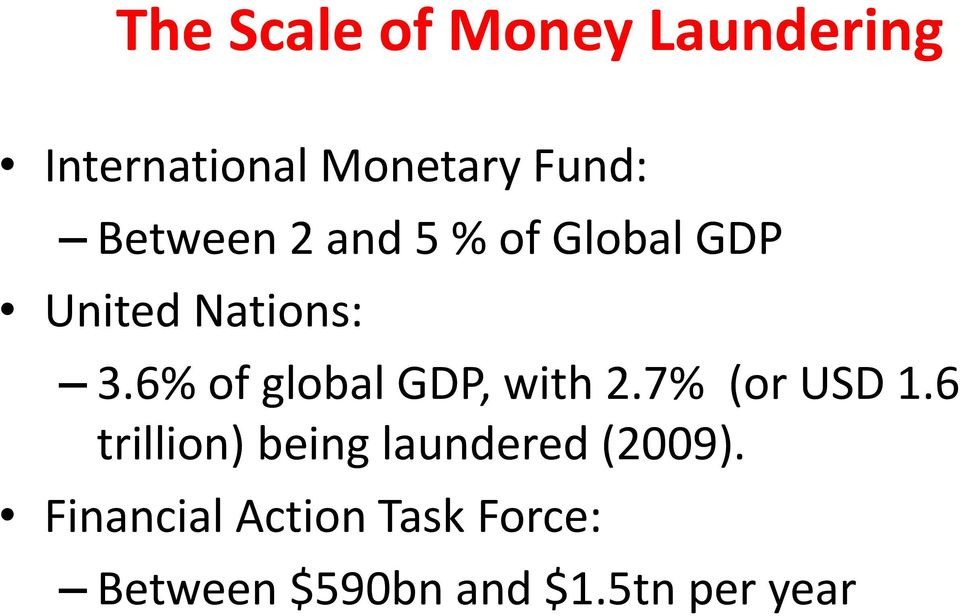 6% of global GDP, with 2.7% (or USD 1.