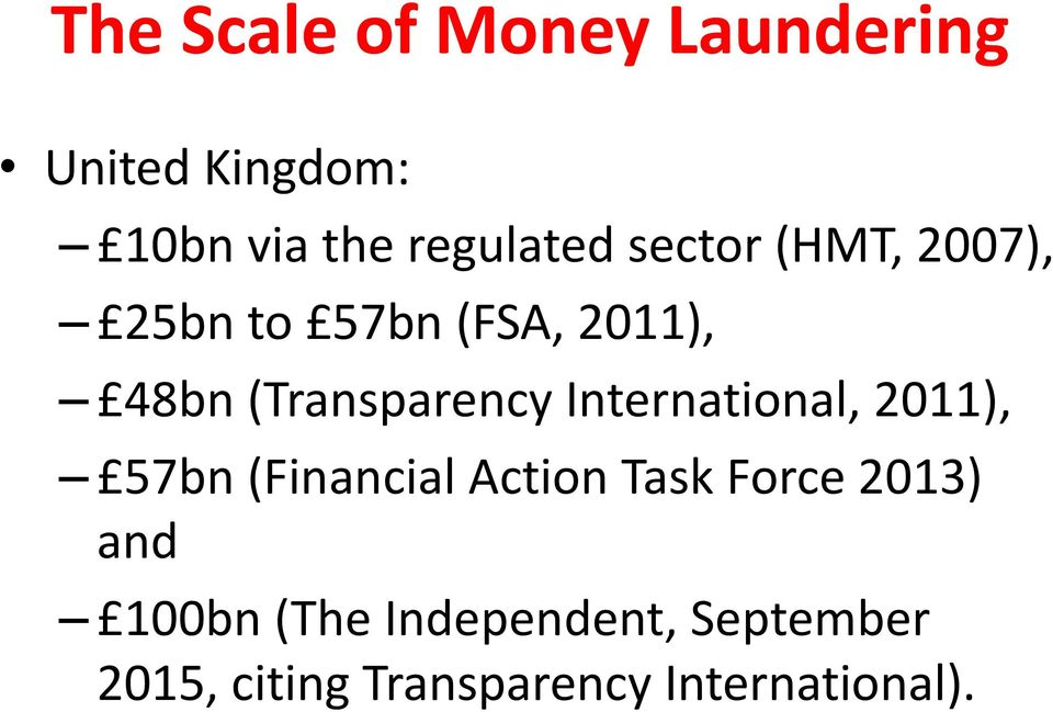 International, 2011), 57bn (Financial Action Task Force 2013) and