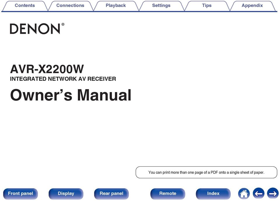 RECEIVER Owner s Manual You can print more