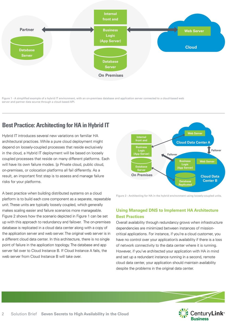 Best Practice: Architecting for HA in Hybrid IT Hybrid IT introduces several new variations on familiar HA architectural practices.