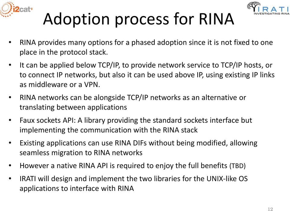 RINA networks can be alongside TCP/IP networks as an alternative or translating between applications Faux sockets API: A library providing the standard sockets interface but implementing the