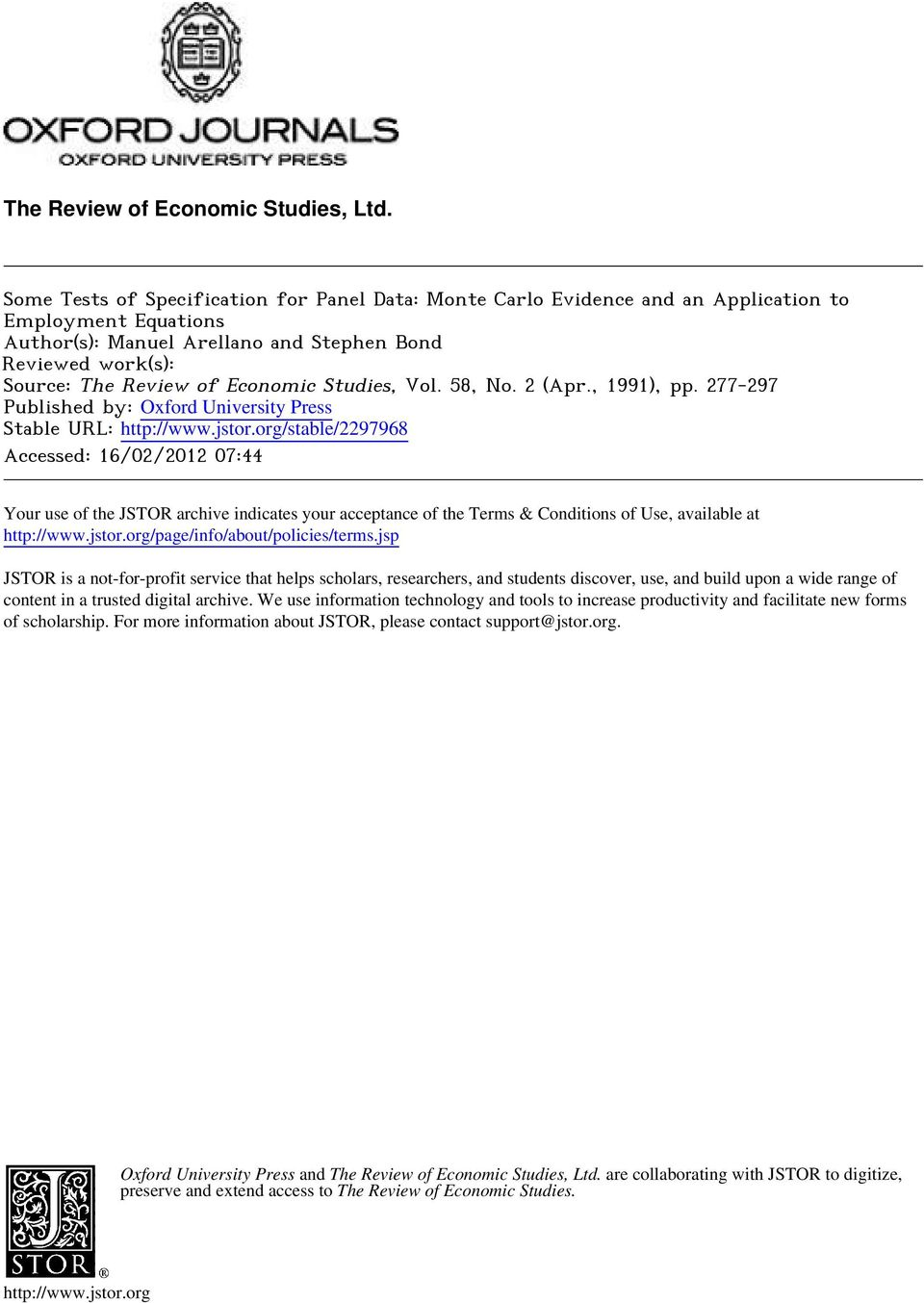 Economic Studies, Vol. 8, No. (Apr., 99), pp. 77-97 Published by: Oxford University Press Stable URL: http://www.jstor.org/stable/97968.