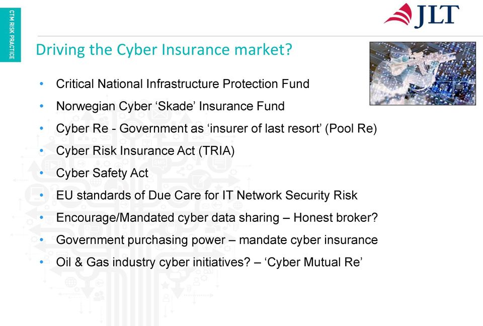insurer of last resort (Pool Re) Cyber Risk Insurance Act (TRIA) Cyber Safety Act EU standards of Due Care for
